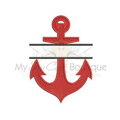 Split Anchor Embroidery Design 10 Sizes by mysewcuteboutique