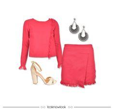 Conjunto de tweed + Brincos + Sandália de salto grosso #moda #look #outfit #lojaonline #ootd #shop #lnl #looknowlook