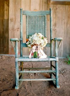 Chippy blue rocker.  Love farmhouse rockers.