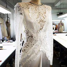 Instagram media by j_mendel - A peak into the new J. Mendel Bridal Collection by @gillesmendel #comingsoon #regram #bridal #jmendel #brides #wedding #insidetheatelier