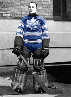 Toronto Maple Leafs Joe Ironstone jersey from his only appearance for the Maple Leafs, which resulted in a scoreless tie. Blackhawks Hockey, Hockey Goalie, Hockey Players, Ice Hockey, Nhl, Hockey Sweater, Jersey Uniform, Maple Leafs Hockey, Hockey Rules