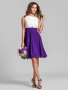 Bridesmaid Dress Knee Length Georgette A Line Jewel Dress (808914) | LightInTheBox