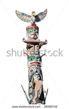 stock photo : Part of Totem Pole on White