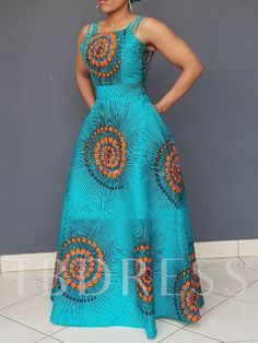 Ericdress African Fashion Expansion Floor-Length Sleeveless Dress(Without Crinoline), Latest African Fashion Dresses, African Print Dresses, African Dresses For Women, African Print Fashion, African Attire, Moda Afro, African Traditional Dresses, Backless Maxi Dresses, Mode Outfits