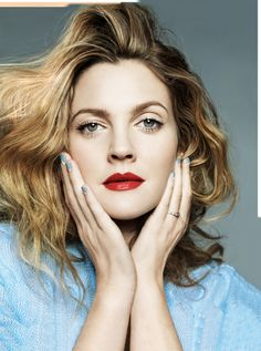 Drew Barrymore in red lips for Marie Claire February 2014.