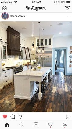 Credit: - Architecture and Home Decor - Bedroom - Bathroom - Kitchen And Living Room Interior Design Decorating Ideas - French Country Kitchens, Modern Farmhouse Kitchens, Home Kitchens, Farmhouse Homes, New Kitchen, Kitchen Decor, Kitchen Ideas, Kitchen Armoire, Kitchen Island