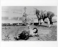 Photo taken in 1912 of three time world champion trick and fancy roper, Flores LaDue in Calgary.  Permenant Collection of the National Cowgirl Museum and Hall of Fame