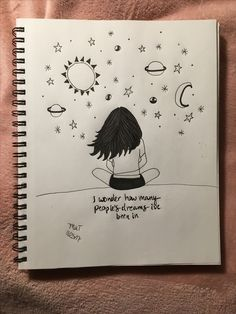 65 Ideas cool art drawings sketches for 2019 Space Drawings, Art Drawings Sketches Simple, Girly Drawings, Pencil Art Drawings, Easy Drawings, Beautiful Drawings, Arte Complexa, Doodle Art Drawing, Art Diary
