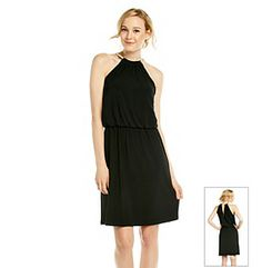 Dresses. Sassy and sleek you'll steal the show at your next cocktail party in this black dress from MSK that features a necklace style halter with a flowing, blouson style top. Featured in black Necklace style halter Sleeveless Clasp at back of neck Keyhole open back Elastic waist for blouson top Pullover style drses Polyester/elastane U.S.A. made