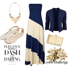"""Colour Challenge: Navy Blue and Gold"" by fashi0npassion on Polyvore"