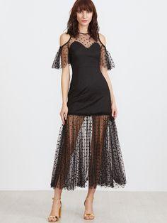 Shop Black Polka Dot Mesh Overlay Cold Shoulder Dress online. SheIn offers Black Polka Dot Mesh Overlay Cold Shoulder Dress & more to fit your fashionable needs.