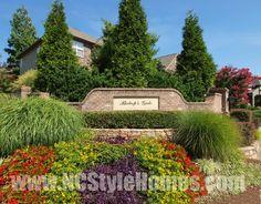 Bishop Gate, Cary, NC Neighborhood Entrance in Bloom