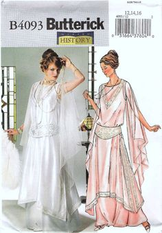 1920s Wedding Gown, Wedding Dress, Evening Gown, Downton Abbey Inspired,1920s Inspired Sewing Pattern Butterick 4093 Sizes 12, 14, 16, uncut