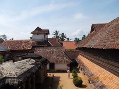 "A partial external view of  the palatial ""Padmanambhapuram Palace"" in Tamil Nadu.Notice the unique ""TILED ROOF""."