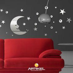 """""""Luck Moon"""" ayna sticker modelimiz, evinizin dekorasyonunu değiştirecek kadar şık.. #dekor #dekorasyon #dekoratif #artikeldeko #evdekorasyonu #evdekorasyonfikirleri #dekorasyonfikirleri #sticker  #ayna #aynasticker"""