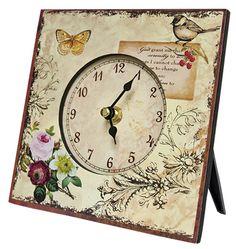 "KP Creek Gifts - Clock w/ Butterfly & Bird - 6.25"" Square"