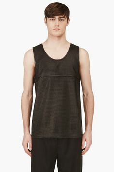 Alexander Wang Black Leather Mesh Tank Top for men | SSENSE