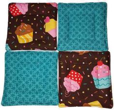 Quilted Coaster Set Cupcake Coaster Set by KelleenKreations