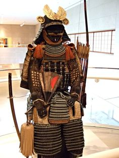 Suit of Armor flanked by sword and bow Japan Late Momoyama period-early Edo period early century. Fantasy Armor, Medieval Fantasy, Japanese Sword, Japanese Art, Dallas Museums, Ancient Armor, Samurai Armor, Suit Of Armor, Martial Arts
