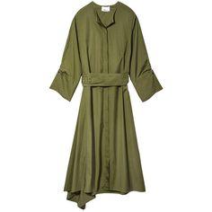 3.1 Phillip Lim Belted Waist Dress (6.597.900 IDR) ❤ liked on Polyvore featuring dresses, green, green silk dress, 3.1 phillip lim, silk dress, 3.1 phillip lim dress and button dress