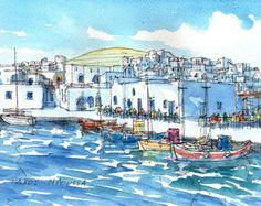 Impresión de un acuarela original de arte Paros Naoussa puerto 2 Grecia