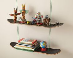 Skate shelf tutorial. Could easily substitute wood.