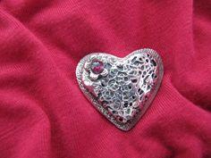 Silver clay pendant heart!