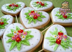 Hearts and flowers cookies