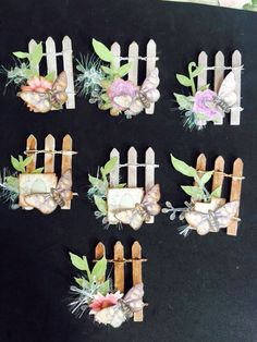 Garden embellishments. Love the fence as a background to work with