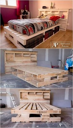 There are a couple of houses who do favor the access of using the pallet bed with storage, headboard and shelves. But the houses who don't ut…Creative Diy Pallet Furniture Project Ideas 76 image is part of 80 Awesome Creative DIY Pallet Furniture Pallet Furniture Designs, Furniture Ideas, Wooden Furniture, Kitchen Furniture, Pallet Designs, Furniture Storage, Hallway Furniture, Lawn Furniture, Furniture Nyc