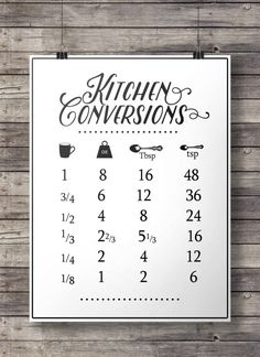 Items similar to Kitchen conversions conversion chart Printable kitchen measurements Printable kitchen art modern farmhouse aspiring chef cooking art on Etsy Kitchen Art, Kitchen Decor, Kitchen Tips, Kitchen Prints, Kitchen Ideas, Kitchen Island, Kitchen Updates, Kitchen Stuff, Kitchen Designs