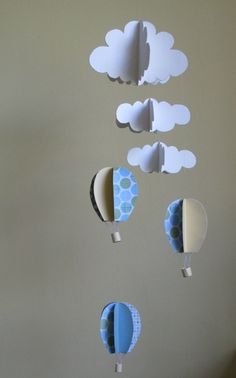 air baloons and clouds mobile / 3D clouds and baloons nursery mobile / boy's room decoration / baby shower gift. $45.00, via Etsy.