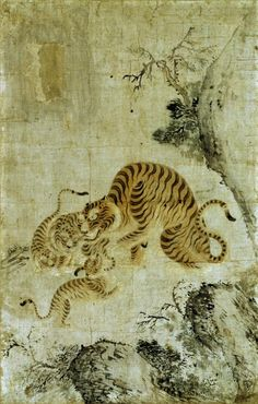 Family of Tigers Korea, Choson period, Now extinct, the Korean tiger was admired for its strength and independent spirit. Tiger Painting, Ink Painting, Korean Traditional, Traditional Art, Asian Tigers, Tiger Illustration, Korean Painting, Arabian Art, Tiger Art