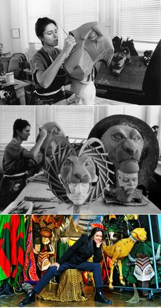 Julie Taymor with puppets and masks from The Lion King