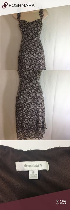Brown Floral Dress-16 A beautiful brown and cream dress in a size 16. The length and neckline make it flattering and versatile. Dress Barn Dresses Midi