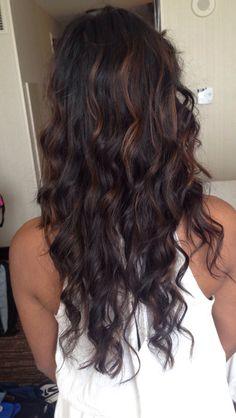 brown balayage on black hair