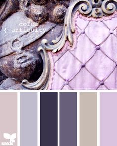 Vintage inspired wedding color palette in shades of lavender