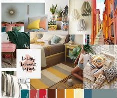 Concept Board for Bedroom Interior Design Bold Colors, Eclectic and Boho