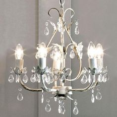5 Light Leaf and Crystal Ceiling Fitting