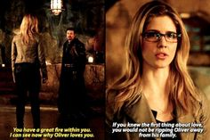 """""""You have a great fire withing you. I can see now why Oliver loves you"""" - Felicity & Ra's AlGhul #Arrow"""