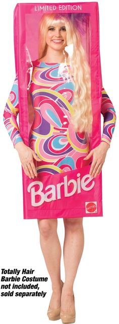 """There Are Holes For Speaking & Breathing. Also, There Is Velcro At The Top Center So That You Can Flap Down The Plastic For Eating & Drinking. Costume Size Is 47.5"""" X 20"""". You Can Be Anything, Even A Barbie Doll: Create Your Own Barbie Style In The Rasta Imposta Barbie Doll Box Costume! Includes Box Tunic With Easy Assembly Poles. Totally Hair Barbie Costume Is Sold Separately. The Dimensions For The Box Are 47.5"""" X 20"""" X 13"""" (L X W X D). One Size Fits Most Adults Sizes S-Xl. 100% Polyes Barbie Box Costume, Doll Costume, Barbie Dress, Barbie Clothes, Barbie Doll, Boxing Halloween Costume, Halloween Costumes For Kids, Adult Costumes, Costumes For Women"""
