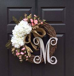 Monogram Wreath – Summer Wreath – Initial Wreath – Front Door Wreath – Wreath with Monogram – Everyday Wreath – Pink Flower Wreath – Wreath – Grapevine Wreath İdeas. Summer Door Wreaths, Wreaths For Front Door, Mesh Wreaths, Diy Wreath, Grapevine Wreath, Wreath Making, Wreath Ideas, Antler Wreath, Pink
