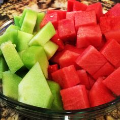 Bowl of watermelons & honey dews reminds me that #summer is here. #fruitbowl #refreshing
