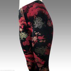GILDED CHRYSANTHEMUM asian floral printed leggings black red metallic gold -