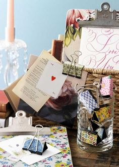 Projects with Vintage Fabrics- Covering binder clips and clipboards with fabric- vintage or otherwise- RRM