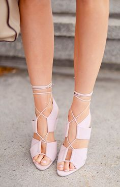 Lavender, lace up heels.