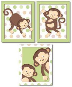 Monkeys Prints For Nursery, Monkeys Wall Art, Nursery Wall Art Set Of 3 Pop  Monkeys, Monkeys Nursery Decor Art Prints, Kids Room Wall Art