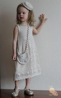 Crochet Patterns For Kids Little Girls Yarns 30 Ideas Knitting For Kids, Baby Knitting Patterns, Knitting Designs, Crochet Patterns, Little Girl Dresses, Girls Dresses, Flower Girl Dresses, Girls Knitted Dress, Knit Dress
