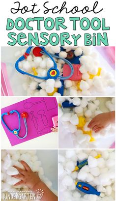 This doctor tool sensory bin was fun for little hands to explore. Perfect for a community theme in tot school, preschool, or the kindergarten classroom.
