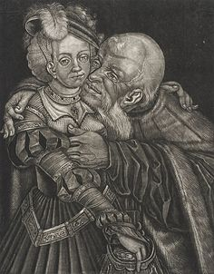 Georg Fennitzer  Ill-matched Couple, 17th century  Print, Mezzotint, Sheet: 9 9/16 x 7 9/16 in. (24.29 x 19.21 cm)  Gift of Mrs. Irene Salinger in memory of her father, Adolph Stern (54.89.47)  Prints and Drawings Department.